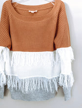 Load image into Gallery viewer, Off Shoulder Color Block Fringe Sweater