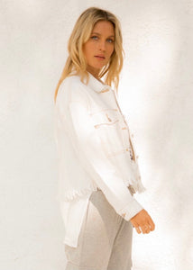 Cut Hem White Denim Jacket with Brown Thread