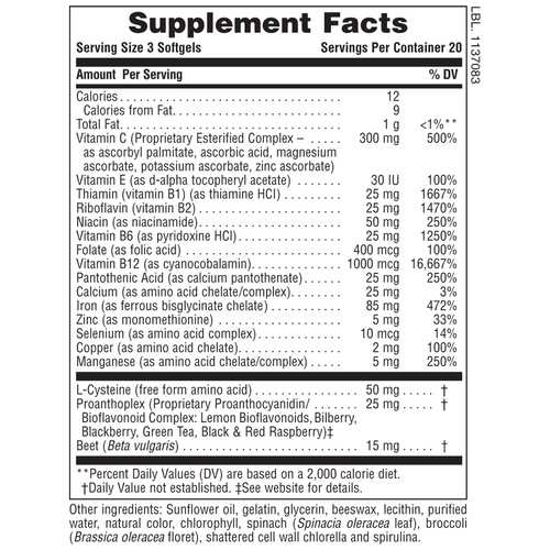 Hema-Plex Iron Softgels Supplement Facts