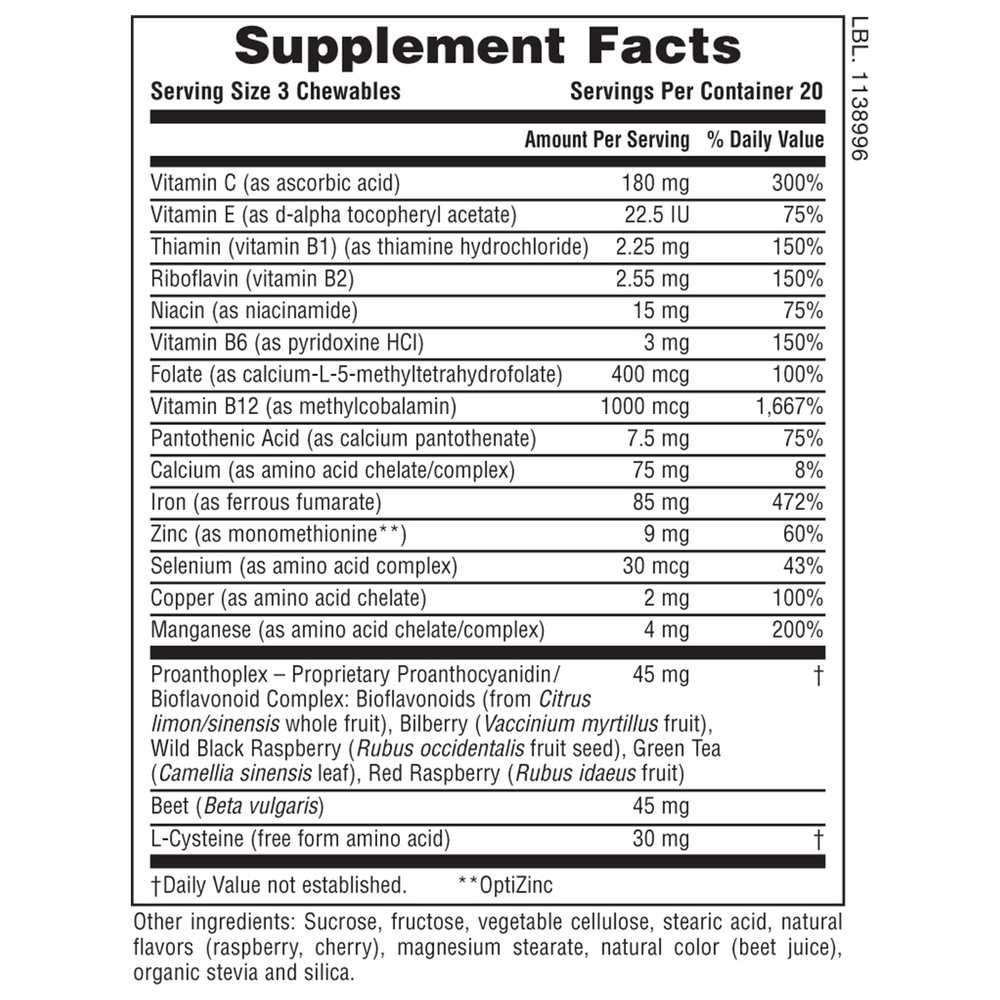 Hema-Plex Iron Chewables Supplement Facts