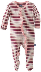 KicKee Pants Orchid Stripe Ruffle Footie with Paws