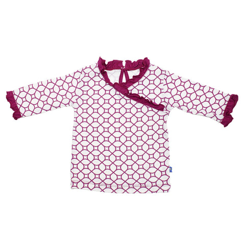 KicKee Pants Orchid Lattice Long Sleeve Ruffle Tee