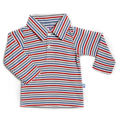 KicKee Pants Print Long Sleeve Polo - Boy Navy Stripe
