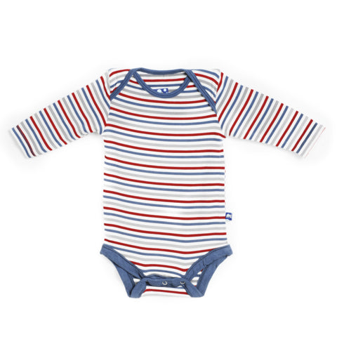 KicKee Pants Print Long Sleeve Onesie - Boy Navy Stripe