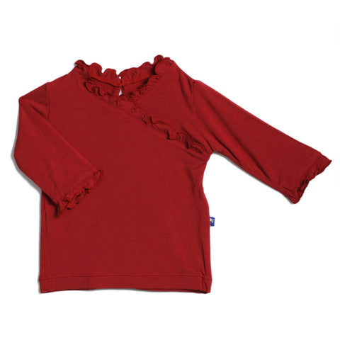 KicKee Pants Solid Long Sleeve Ruffle Tee - Crimson