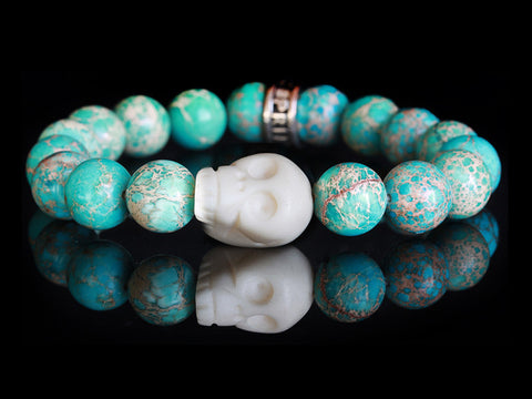 Manhattan Tribe Turquoise Bone Skull