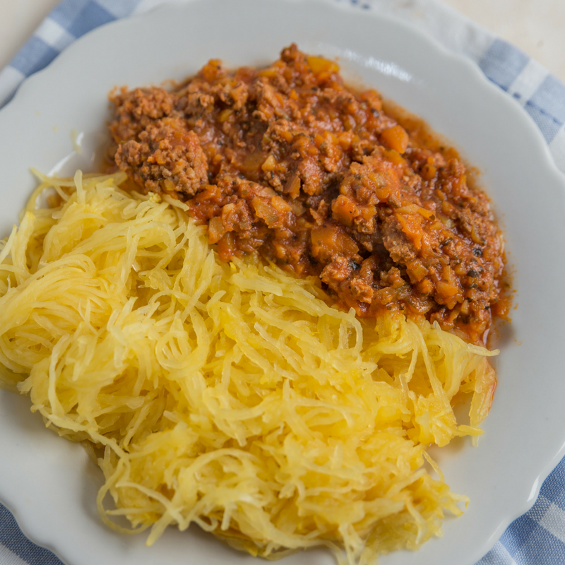 Paleo spaghetti squash bolognese, frozen ready made meal.