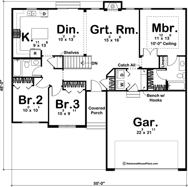 Traditional one story house plan main level