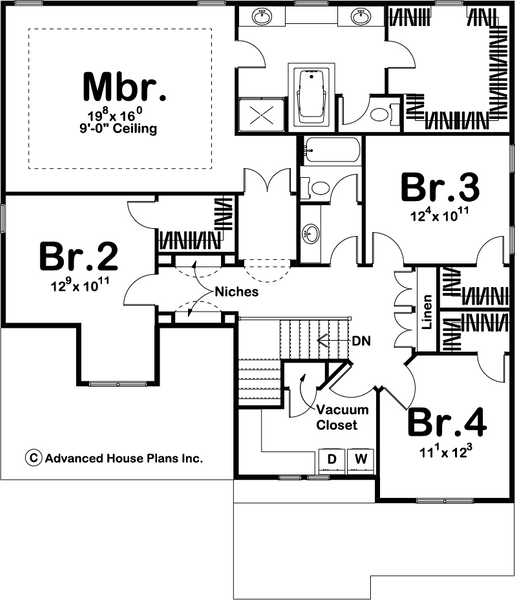 two story cottage style house plan second level
