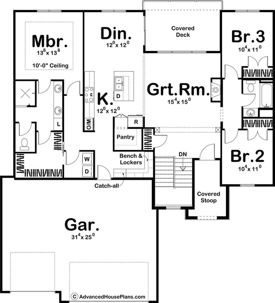 Cleveland ranch house plan floor plan