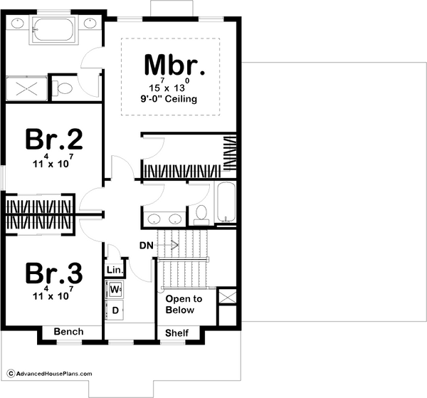 Modern Prairie Two Story House Plan Second Level Floor Plan