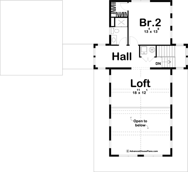 1.5 Story Modern Farmhouse Cabin Plan Second Level Floor Plan