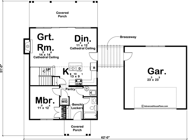 one and a half story modern farmhouse cabin plan main floor
