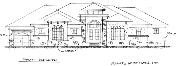 Early sketch of 2013 Street of Dreams Home by Advanced House Plans