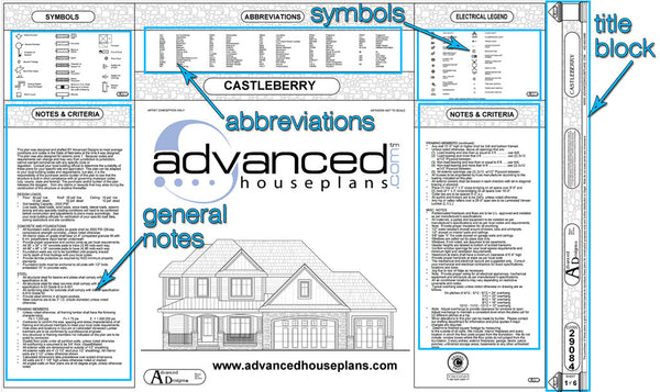 Example house plans cover page with annotations
