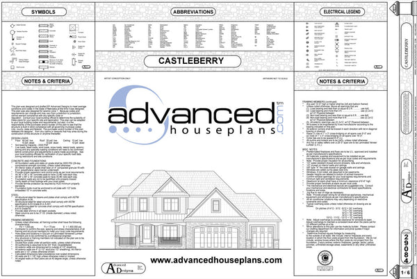 Example cover page for a set of house plans