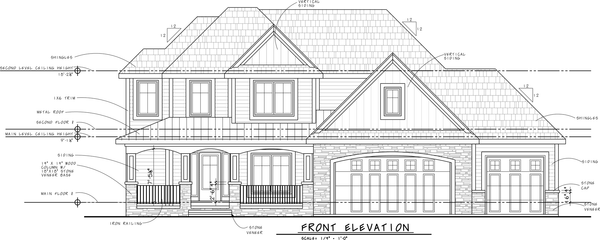 Simple Front Elevation Drawing : How to read house plans elevations