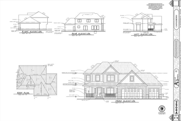 An example page with elevations for a set of house plans