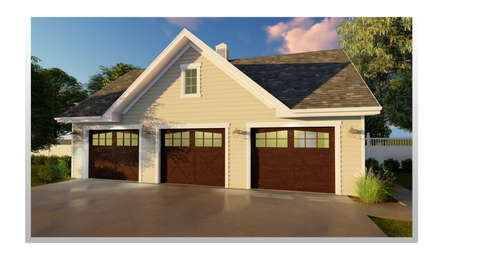 Traditional 3 car garage plan front