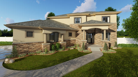 two story Mediterranean house plan front