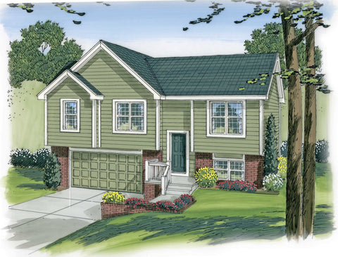 split entry house plan front