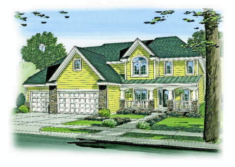 2 story traditional house plan front