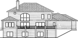 1.5 story Mediterranean House Plan rear