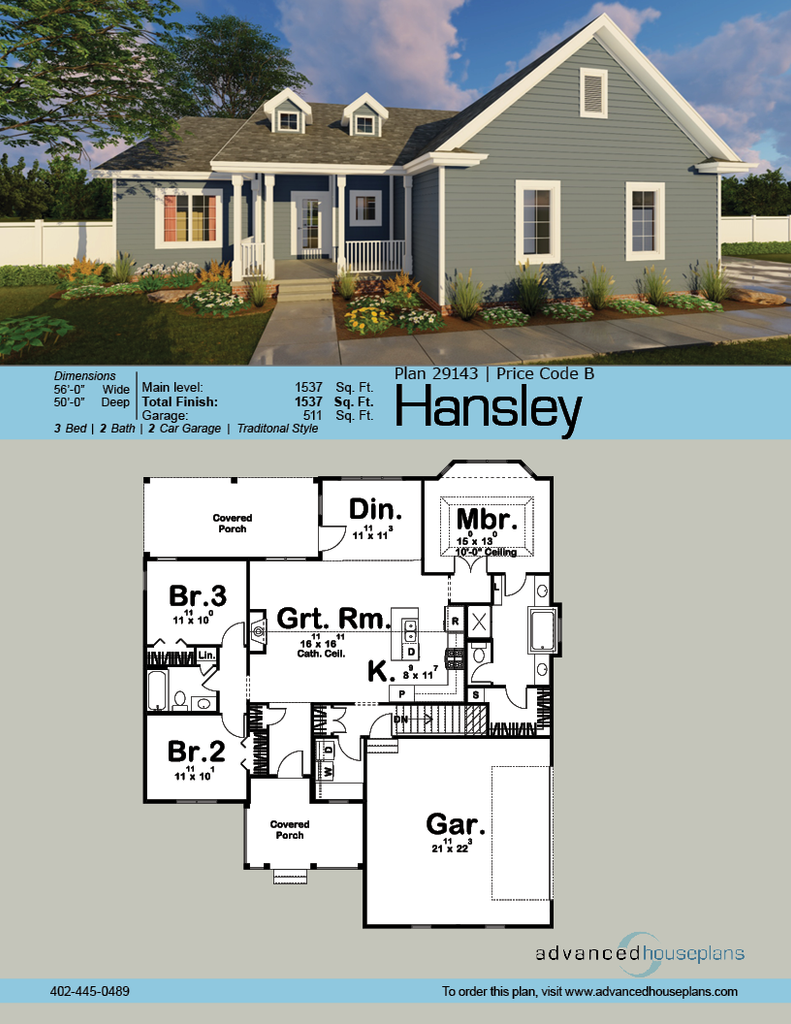 Hansley Traditional Ranch By Advanced House Plans
