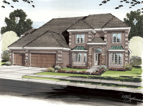 French Country 2 story house plans the Hillsborough by Advanced House Plans