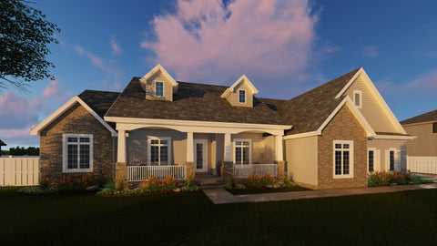 1 story traditional house plan front