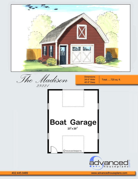 Madison boat garage by advanced house plans for Boat garage plans