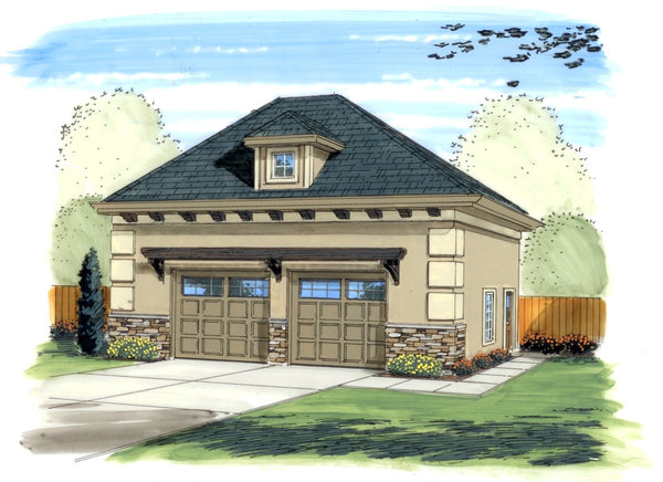 Shelby 2 car garage by advanced house plans for Hip roof garage plans