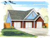 3 car front load garage plan
