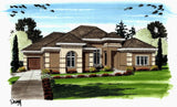 1 story Mediterranean house plan front