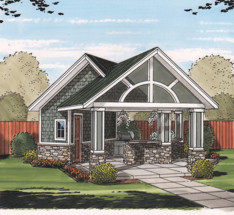 pool house plan front