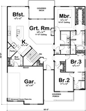 three bedroom one story house plan