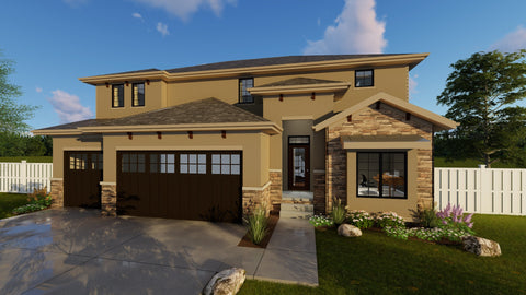 Mediterranean two story house plan front