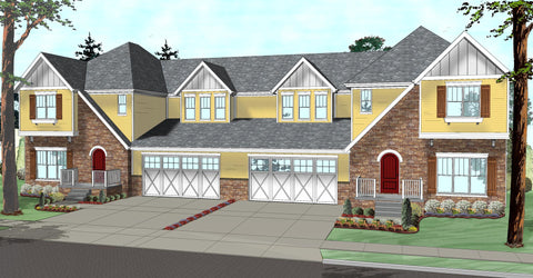 Multi family house plan front