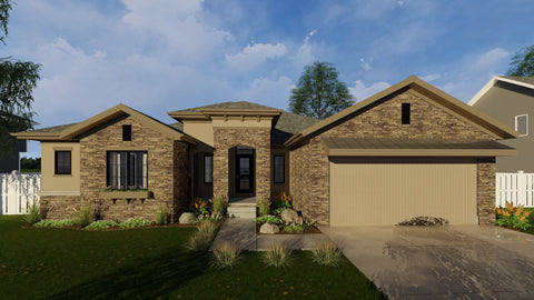 Mediterranean one story house plan front