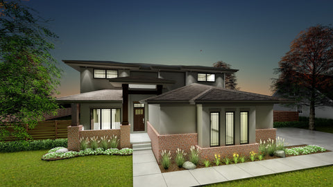 modern prairie 2 story house plan front 3d elevation