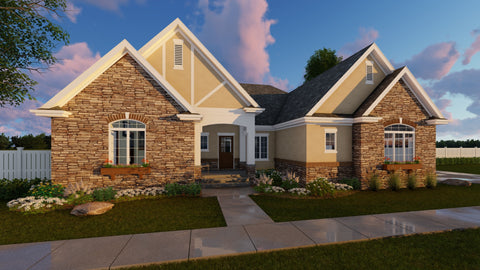 1 Story Cottage Style House plan front