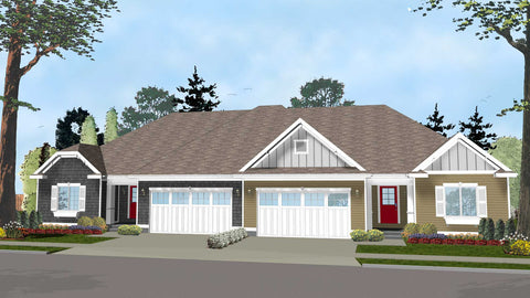 1 story traditional duplex house plan front
