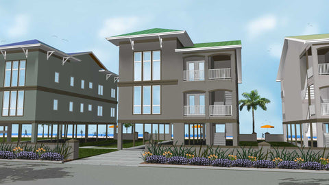 beach house plan front