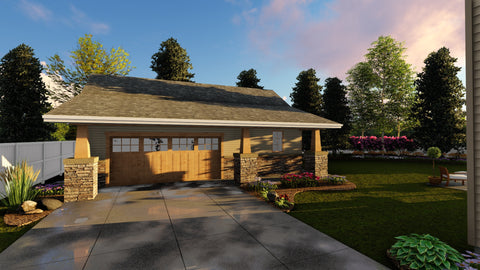 Traditional 2 car garage plan front