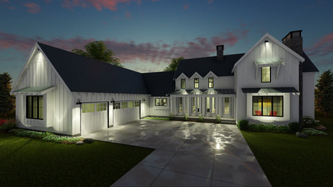 modern farmhouse plan front