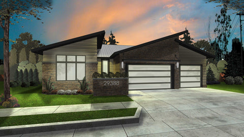 modern ranch house plan front