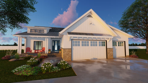 1 story modern cottage house plan front
