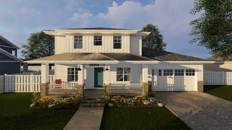 Modern Prairie Two Story House Plan Front
