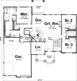 traditional one story house plan main level floor plan