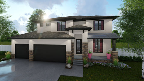 2 story mediterranean house plan front